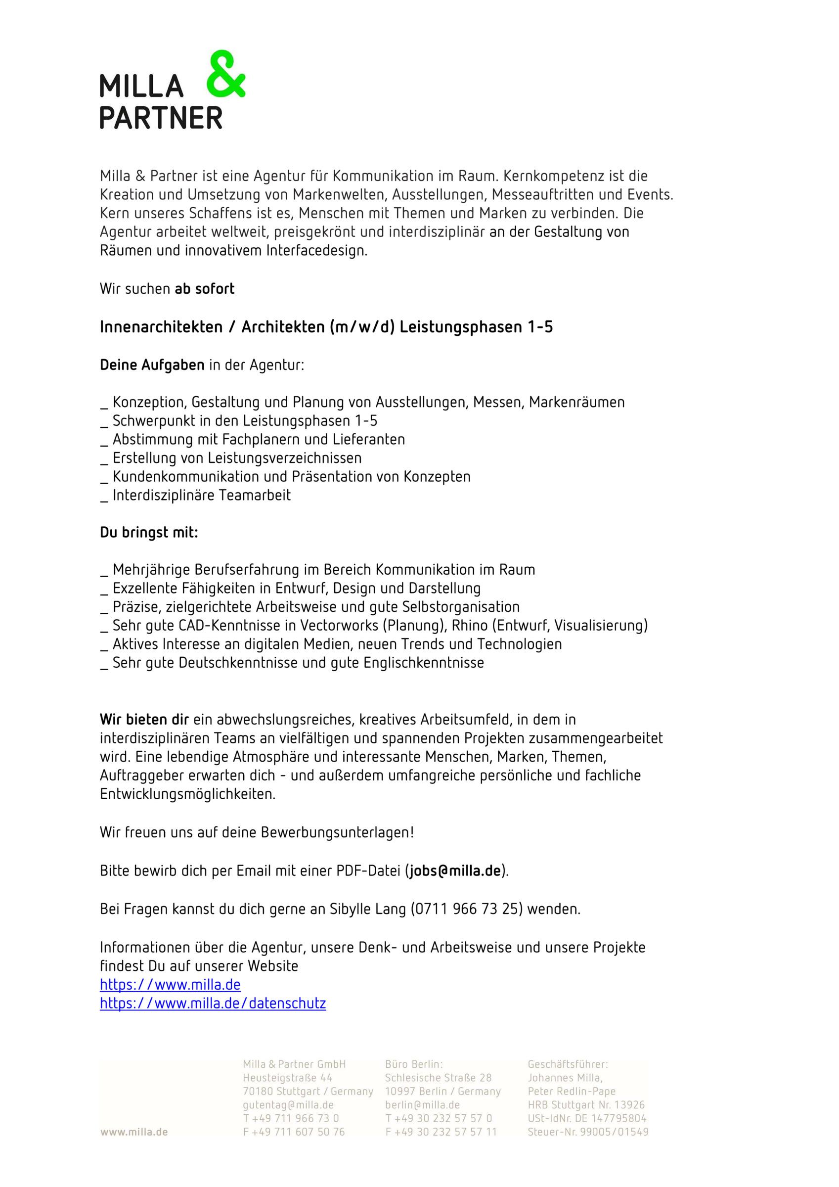 Innenarchitekten / Architekten m/w/d Leistungsphasen 21 21 ...